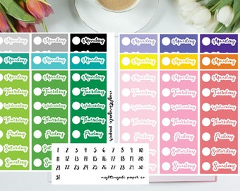 Multicolored Date Cover Planner Stickers for use with Erin Condren Life Planner
