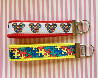 Autism Awareness Wristlet Key Chains Ribbon Cotton Webbing 1.25 Inch