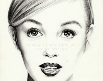 Marilyn Monroe, stampa artistica firmata da disegno a grafite