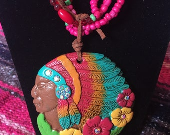 Beaded Indian Necklace.  Includes Cross Earrings