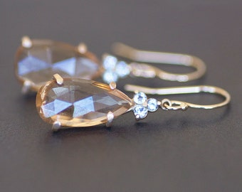 Pink / Peach Tourmaline Teardrop / Pear Earrings in 14K Yellow Gold with White Topaz Accents - 15x9mm Natural Rose Cut Gemstone - OOAK