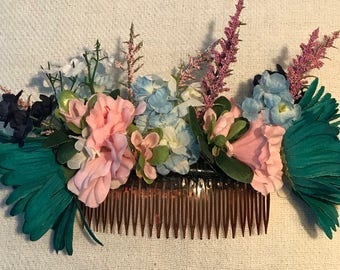 Turquoise Head Piece - Floral Hair Comb