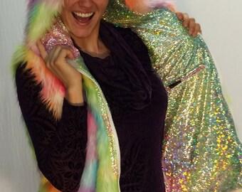 Rainbow Unicorn Faux Fur Vest // Women's Burning Man Reversible Vest // Disco Vest