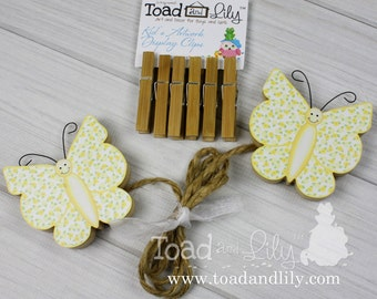 Yellow Floral Butterfly Girls Wooden Wall Art DISPLAY CLIPS for Kids Bedroom Baby Nursery Playroom AC0024