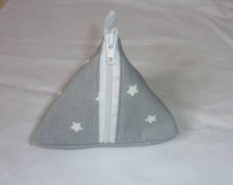 Berlingot grey pouch with white stars