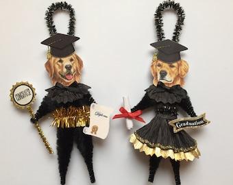 Golden Retriever GRADUATION ornaments graduate DOG ornaments vintage style chenille ORNAMENTS set of 2