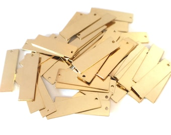 4x Gold Plated Rectangle Charms - M052-B