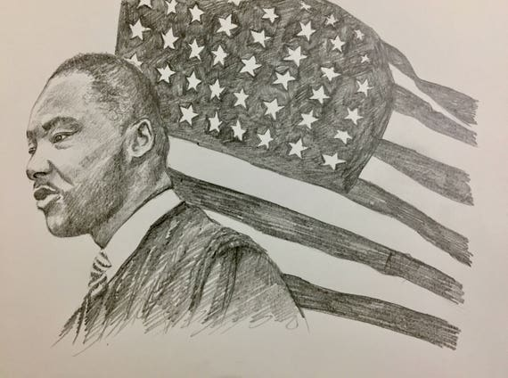 "Dr. Martin Luther King Jr. Print - Hand-Drawn - 8"" x 10"" - Black and White on Matte"