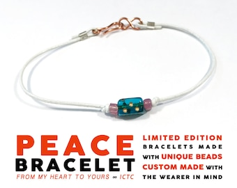 PEACE BRACELET // Aqua Purple White // 1mm White Leather African Aqua Glass Dice and Pink-Purple Beads Personalized Custom Gift Luck