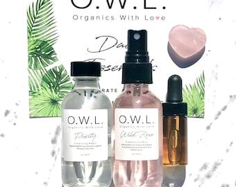 Skin Clarifying Travel Size Healing Organic Skincare Vegan Crystal Charged Balancing Hydrating Gift Set Skin Care Set Non-Toxic Plant-Based