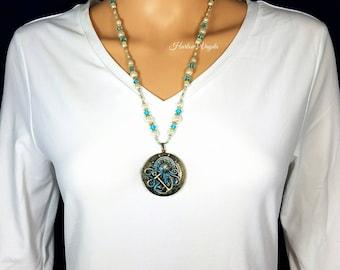 Octopus necklace, necklace, locket necklace, locket, octopus locket, cctopus locket necklace, nautical, nautical necklace, bead necklace
