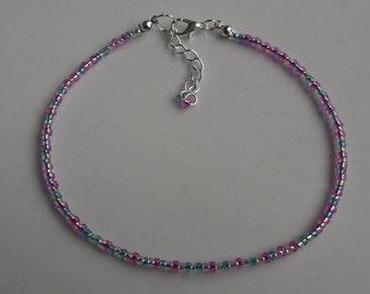 Pink and blue beaded anklet, ankle bracelet, beaded anklet, beach anklet, seed bead anklet, boho anklet, blue anklet, pink anklet