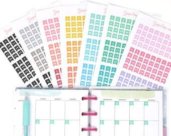 Mini Date Flags, Planner Stickers, Undated Planner, Date Cover Stickers, DIY Calendar, Calendar Numbers, 1-31, Choose your color set, DAT9