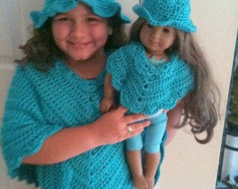 Sizes infant to 2, Poncho, Hat, Poncho and Hat Set, Crochet,Teal, Poncho and Hat Set Daughter and Doll
