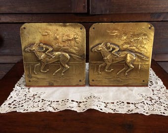 Horse bookends embossed metal