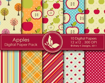 Apples Paper Pack - 10 Digital papers - 12 x12 - 300 DPI