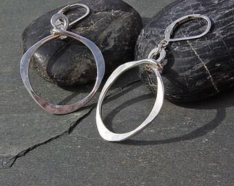 Large Hoop Earrings, Large Silver Hoop Earrings, Big Earrings, Silver Hoops, Handmade Earrings, Modern Jewelry, Hammered Silver Earrings