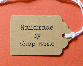 """Mini Scalloped Top Kraft Tags 1.75""""x1.25"""" with twine ties . product, gift or pricing tags . personalized """"Handmade By"""" tags . Etsy supplies"""