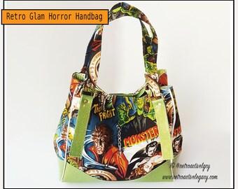 Ready to Ship Handbag Tote - Movie Monsters Handbag Tote - Green Glitter Vinyl Tote - Charlotte Tote Bag - Swoon Charlotte Handbag Tote