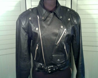 Airbrushed Motorcycle Jacket Heavy Duty Black Leather Classic Biker Asymmetrical Zippers Belt Hand Painted Sunflower Rose Jamie Size Medium