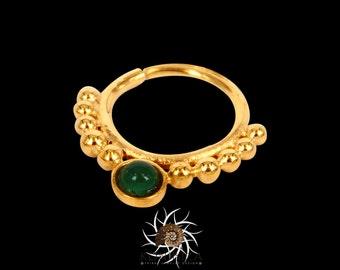 Dev Green Onyx Gold Septum Ring - Septum Jewelry - Septum Piercing - 16G Septum Ring - Tribal Septum Ring - Indian Septum Ring  (G20)