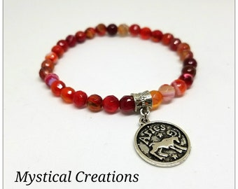 6mm Red Fire Agate Aries Zodiac Charm Bracelet. Gift for Her.