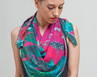 Gift for women, Statement scarf, Pink green scarf, Big square scarf, Printed evening scarf wrap, Scarf women, Creative gift for her, unique