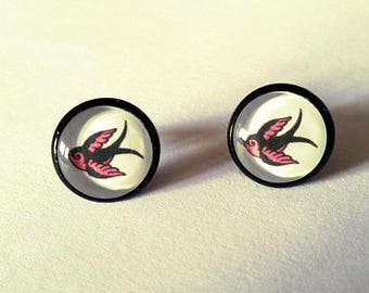 Rockabilly swallow earrings