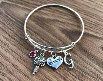 Personalised Bridesmaid Bracelet, Initial Charm Bracelet, Bangle, Bridesmaid Gift, Wedding, Bridesmaid Jewellery, Birthstone Charm