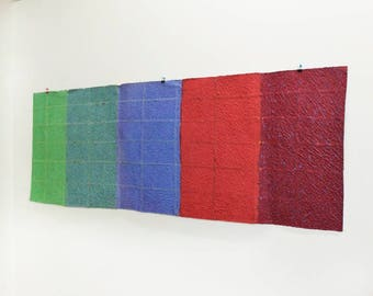 Vintage Handmade Paper Wall Hanging- Prism Rainbow, Colorfield, Large Wall Art Piece