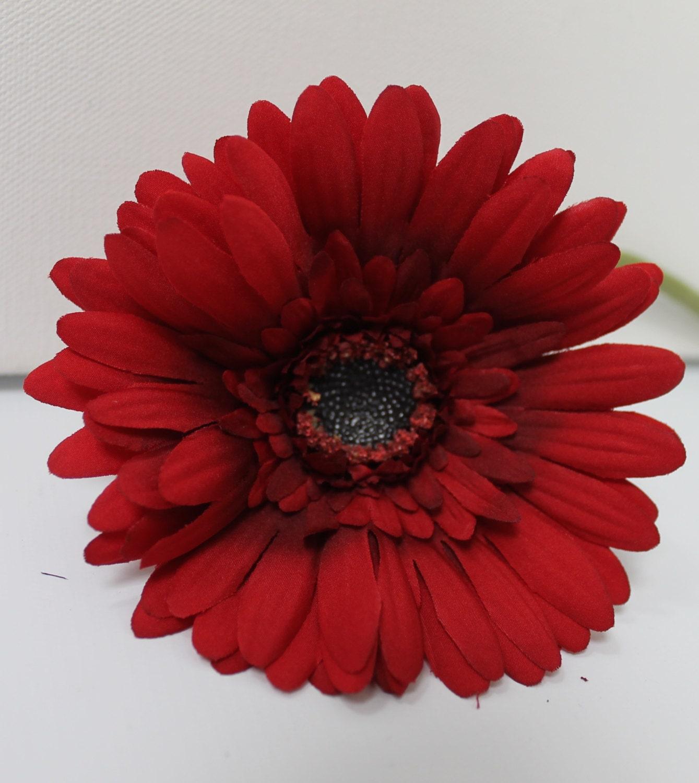 Red Silk Daisy Silk Floral Silk Flowers Diy Hair Flowers