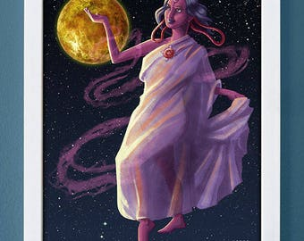 Venus, art print, planet art, science art, children's art, roman gods, 4X6, 5X7, 8X10