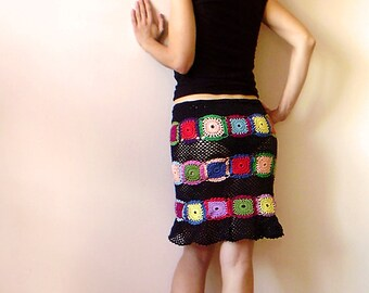 Women's Skirt - Black with Multicolor Squares - MADE TO ORDER