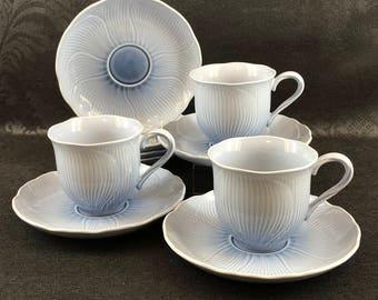 1 0f 3 Avail. Mikasa Cornflower Blue Cups And Saucers Japan Porcelain Vintage