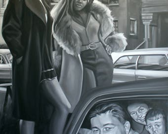 Suburbans, 48x72 inches oil on gallery stretched canvas, by Kenney Mencher