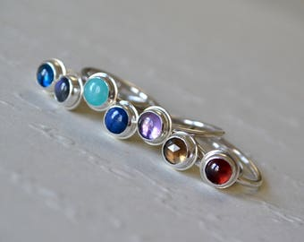 Gemstone Stacking Rings. Recycled Sterling Silver. Stacking Rings. Gemstone Rings. Stack Rings. Mother Rings.