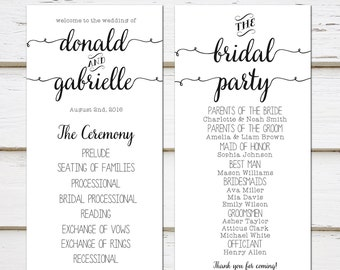 printable simple wedding program black and white plain casual program template