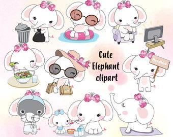 Cute Elephant set 1 clipart instant download PNG file - 300 dpi