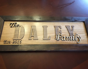 Custom Family Wood Sign, Laser Cut Sign, Wooden Framed Sign, Family Sign, 3D Wood Sign