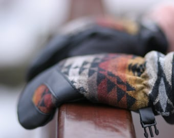 Wool and Leather Mitten | Trail Mitt | Black Pendleton Wool and Leather