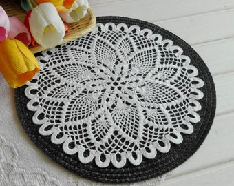 Crochet doily White crochet doilies 13 inches Pineapple doily Crocheted doilies Home decor 423