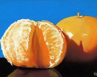 Orange on Blue 5x7 still life painting