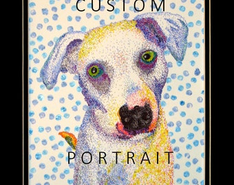 Custom Pet Portrait in Color and Pointillism Style from Your Photo