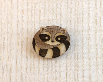 Marquetry Raccoon Brooch Pin and Pendant Inlaid Wood by Linnell Design