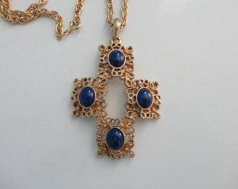 VINTAGE blue and gold CROSS crucifix pendant NECKLACE