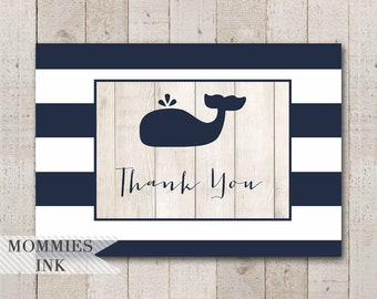 Whale Folded Thank You Note, Whale Thank You Card, Folded Note, Navy and White Thank You Note, Whale Theme, Whale Baby Shower
