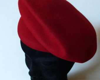 Vintage 30's Red Stetson Beret Cap, Peaked Brims, Front and Back