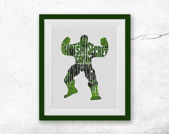 BOGO FREE! Hulk Cross Stitch Pattern, Сomics Quote Counted xStitch Chart Super Hero Marvel TV Film Modern Decor pdf Instant Download #005-15