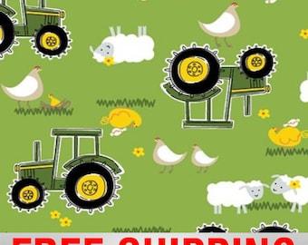 "Fleece Fabric Tractor John Deere Anti Pill 60"" Wide Free Shipping Style EE 54809"