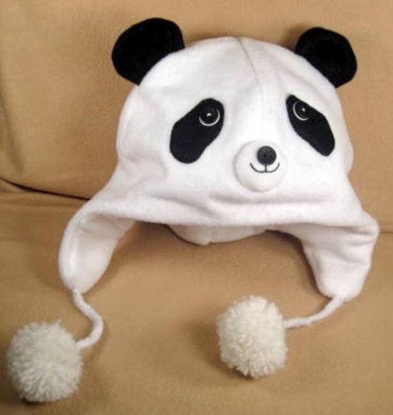 SALE- PDF ePattern-Panda Bear Fleece Aviator Hat Tutorial, Children ...
